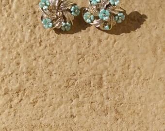 Clip On Vintage Floral Earrings