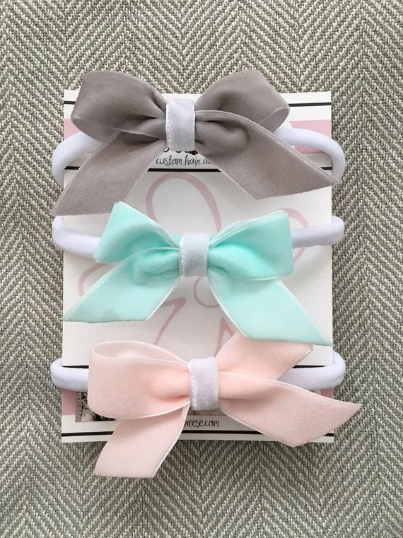 Set of three infant bows, velvet bow headbands, newborn bow set, aqua bow, blush bow, grey bow