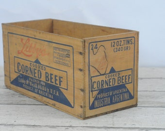 Vintage Libby's Brand Box Wood Corned Beef Crate Argentina