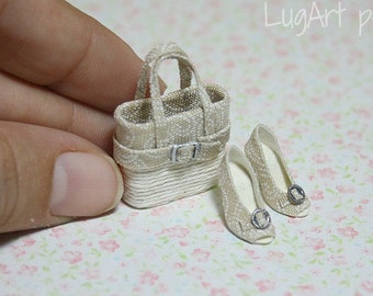 Set of handbag with shoes for dollhouse scale. 1:12 scale.