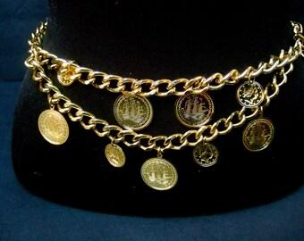 Heavy Gilt Metal Coin Chain Link Belt