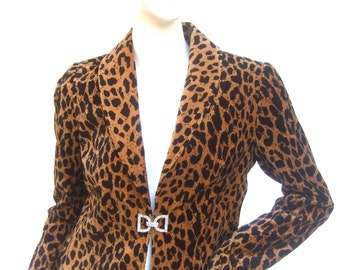 Stylish Animal Print Cotton Velvet Jacket Size 6