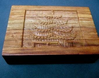 Exotic Carved Teak Wood Trinket Box c 1970s