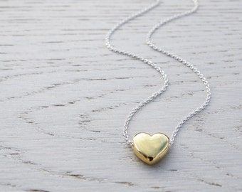 Gold Heart Necklace - Sterling Silver