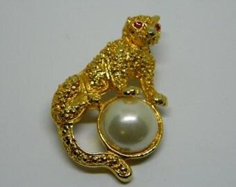 Fierce Jaguar Brooch, Jaguar Pin, Animal Brooch, Free Shipping Brooch