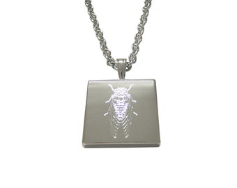 Silver Toned Etched Cicada Bug Pendant Necklace