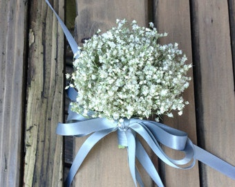 Simple Dried Baby's Breath Corsages - Dried Wedding Boutonniere - Baby's Breath