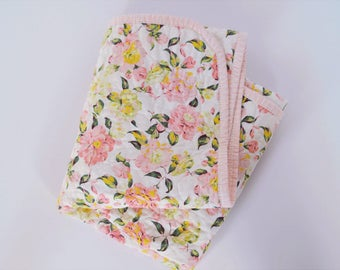 Pink Spring Floral Whole Cloth Baby Girl Quilt