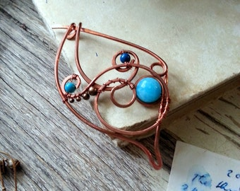 Celtic Shawl pin, Turquoise Rustic Copper sweater pin or scarf pin in swirly design with stones, copper brooch