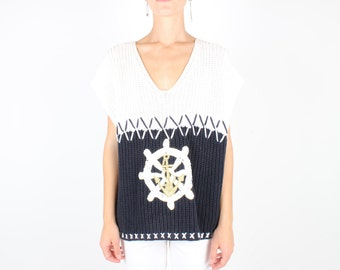 80s KNIT Novelty SEQUIN ANCHOR Sailor Nautical Striped Navy + White Loose Crop Top
