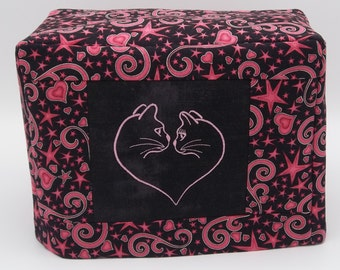 Two Slice Toaster Cover with Cats, I Heart Cats, Pink and Black Toaster Cover