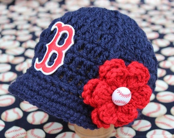 Baby Boston Red Sox - Hat - Knitted / Crochet - Baby Girl Gift / Newborn - Photo Photography Prop - Baseball MLB