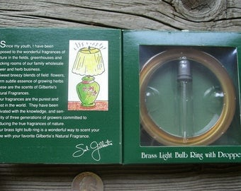 Vintage Brass Fragrance Ring - Metal Light Bulb Scent Diffuser with Dropper - New in Package Room Perfumer