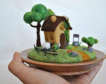 Miniature Fairy Garden House Rustic Home Decor - Needle felted Desk Decoration Diorama English Old Cottage Tiny felt World Houswarming Gift