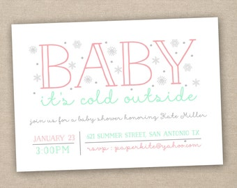 baby shower invitation girl - baby it's  cold outside - printable baby shower invitation