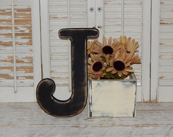 Wooden Letter J Distressed Wood letters Made To order Photo Props