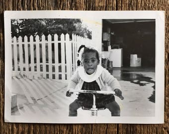 Original Vintage Photograph Tricycle Concentration