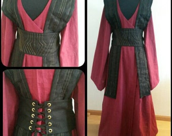Reserved custom order:Long  linen Star Wars inspired Jedi robe Atris tunic Stitches gown wrapdress/robe costume cosplay larp pagan