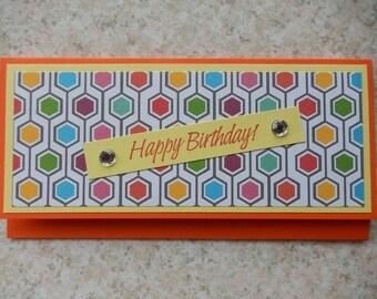 Birthday Cash/Check Gift Holder - colorful hexagons and yellow, orange