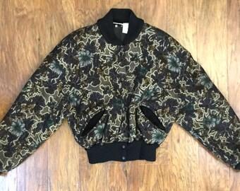 Super cool 1990's Sonia Rykiel wool floral bomber jacket