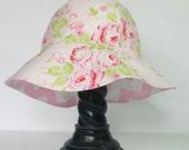 Sun Hat, Sunhat, Reversible Sun Hat,  Girl's Hat,  Cottage Chic Rambling Rose Cotton Fabric Reversible Sunhat
