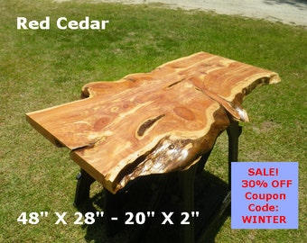 Live Edge Red Cedar Finished Wood Slab, Natural Edge Desk Top, Console Table, Breakfast Table, Coffee Table, Work Station, Buffet Table 2146