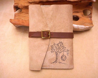 Journal Handmade Leather Wrap with Tree and Tire Swing