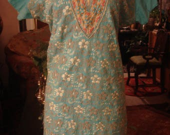 Vintage Soft Blue Afghani Embellished Dress