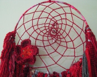 Dream Catcher -  Wall Hanging - Home decor - Suncatcher Ruby Red novelty yarns in rich reds and soft grey that hang down. Crochet flower.