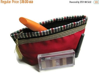ON SALE Middle Eastern Make Up Bag -  Traditional Fabric and Red Under 25 Handmade