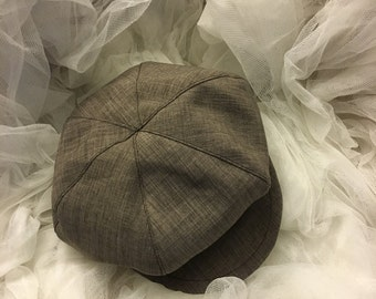 Sable brown newsboy hat, brown beret  hat for boys