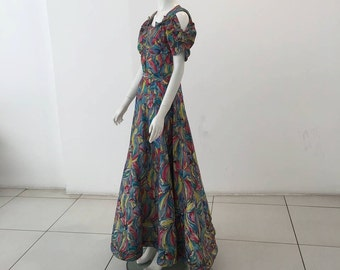 1930s novelty print evening gown