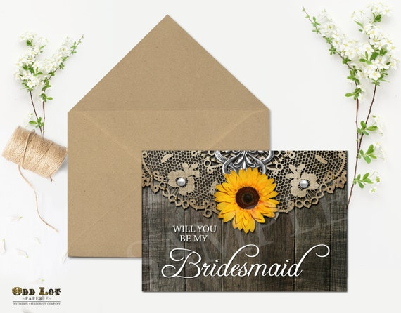 rustic bridesmaid card will you be my bridesmaid sunflower