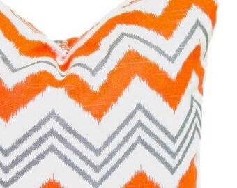 OUTDOOR Pillow Sale.Chevron.12x24, 12x22, 12x20, 12x18 or 12x16 inch.Decorative Pillow Cover.Housewares.Lumbar.Orange Gray Zig Zag. Chevron.