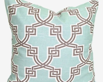 BLUE BROWN PILLOWS.18x18 inch.Decorative Pillow Cover.Housewares.Home Decor.Spa Blue Brown Pillow Cover.Pillow Cover.Pillow.Cushion