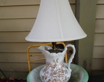 Awesome Vintage OOAK Pitcher and Bowl Lamp, Primitive, Country, Pitcher and Bowl, Lighting, Unique Lighting.Large lamp, Victorian, French