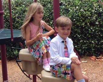 BROTHER SISTER SET girl's tank dress with matching boys shorts in Michael Miller's Madras Plaid...perfect for family pics!