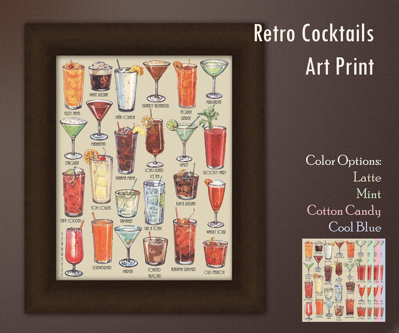 Retro Cocktails Art Poster Mid Century Art Drinks Photograph