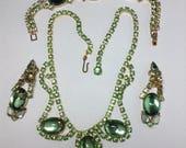 Light Green Demi Parure  Necklace, Bracelet and Dangle Earrings   Item: 17109
