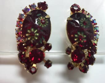 DeLizza and Elster aka Juliana Red Etched Flower Earrings  Item:17352