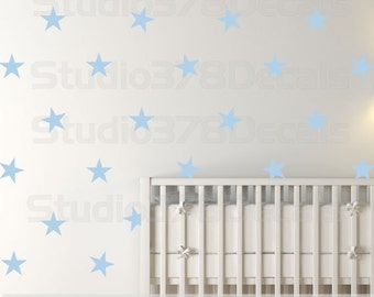 Star Pattern Wall Decals | 5in | Gold and Silver Stars Nursery Decals | Baby Nursery | Five Point Stars | Trend Decor | Nursery Wall Decals