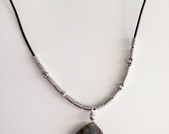 Semi Precious Stone, Leather Necklace, Beaded Necklace