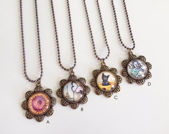 Ornate Antique Bronze Glass Image Necklace, Floral Necklace, Paris Necklace, Kitty Necklace, Ball Chain Necklace, Pendant Necklace