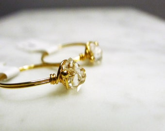 Herkimer Diamond Crystal wire ring in 14K Gold Filled
