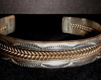 Sterling and Gold Filled Southwestern Cuff Bracelet