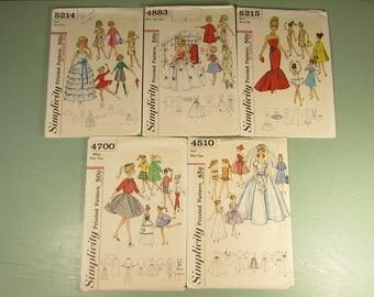 Barbie Sewing Pattern Lot - Vintage 60s Uncut Simplicity