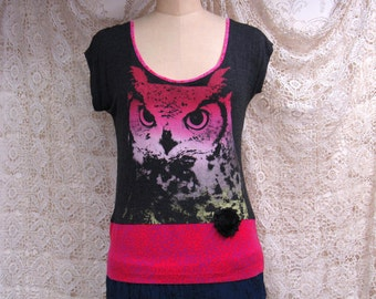 Medium Owl T Shirt Rayon Cotton Recycled Boho Repurposed Altered Clothing Eco Wear