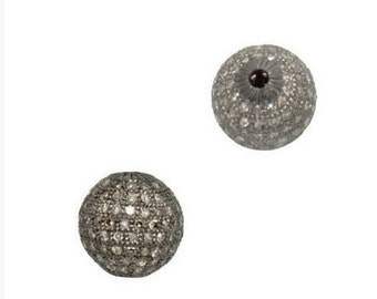 Best Price/Pave Diamond Oxidized Sterling Silver Round Ball/Spacer/8mm