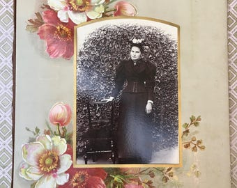 Lovely Victorian Photograph Album Page with Wild Roses and Photograph of Young Woman