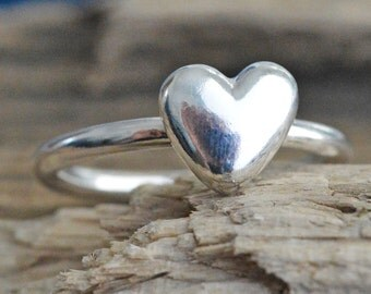 Sterling Silver Heart Pebble Organic Recycled Handmade Ring